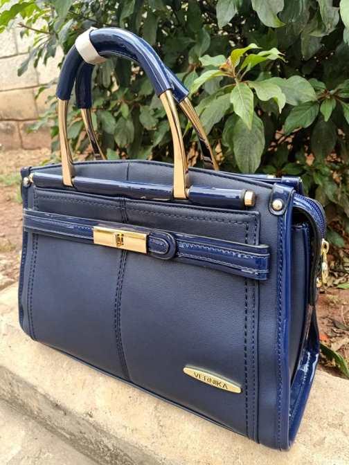 Navy blue wetlook finish bag