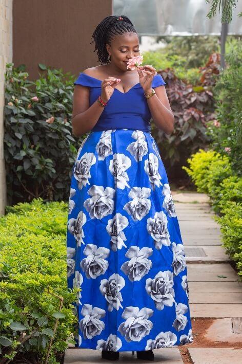 Royal blue ballroom gown