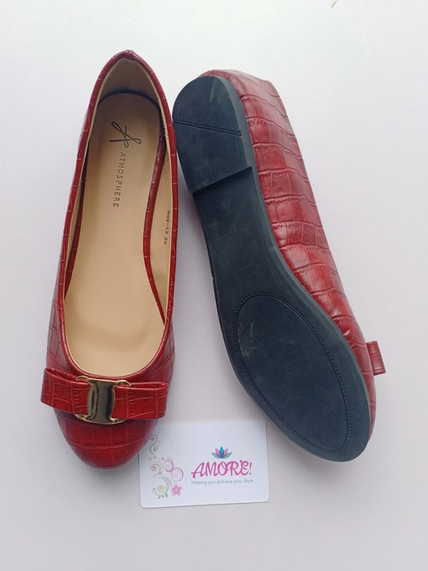 Burgundy croco doll shoe