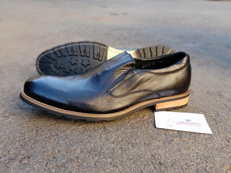 Black brown sole slip on
