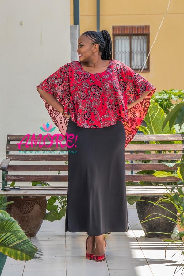 Black red chiffon over flap dress