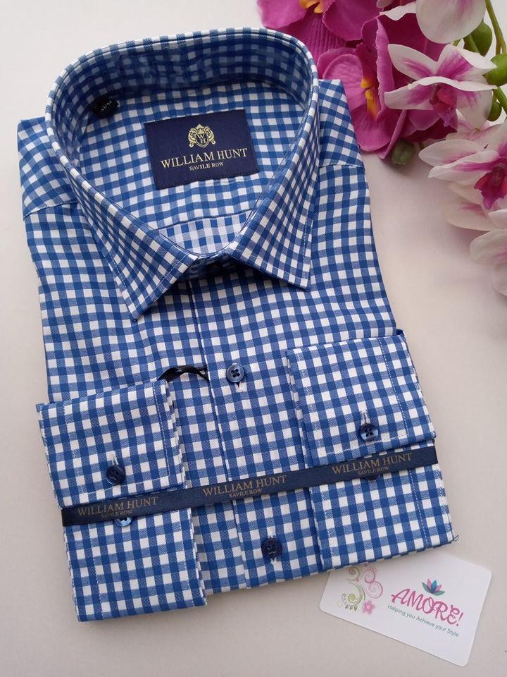 Checked blue big boxes shirt