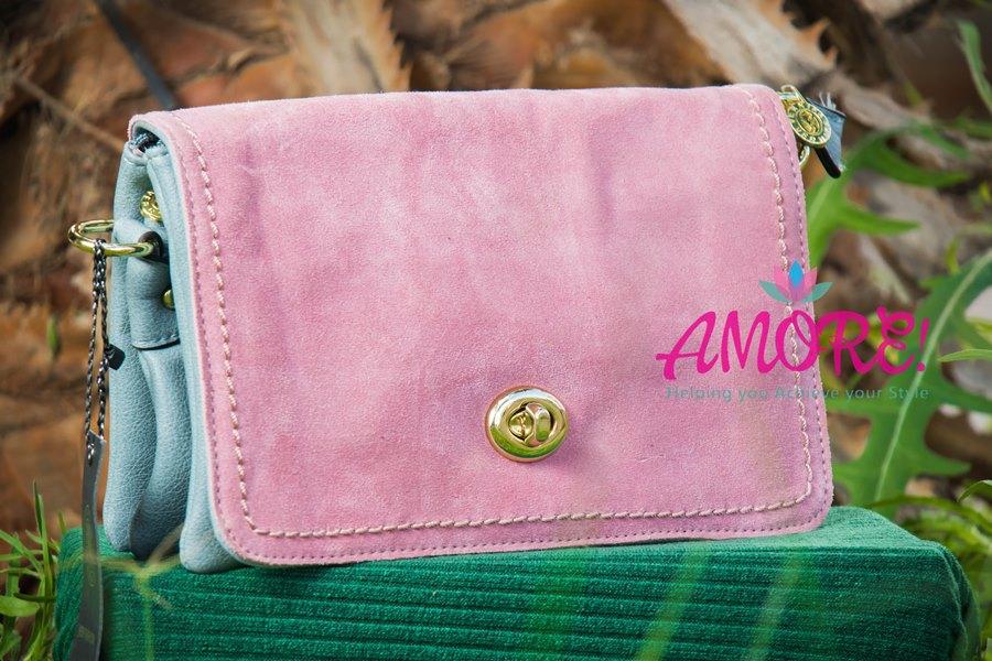 Pink blue clutch slash sling bag