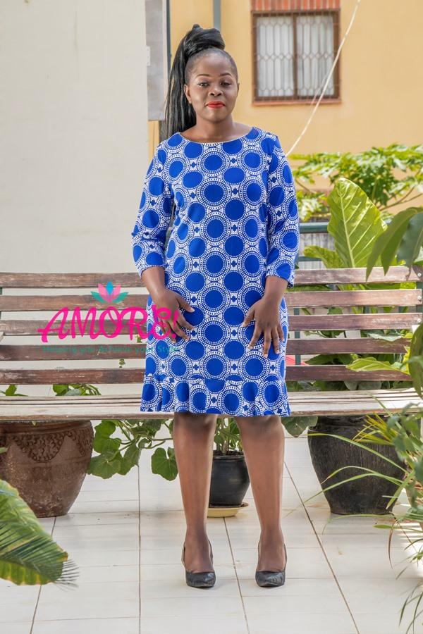 Royal blue polka sheath dress