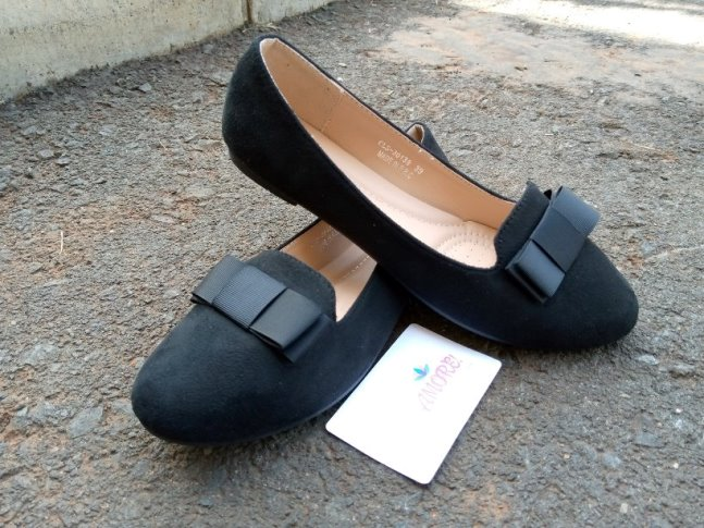Black suede with bow flat