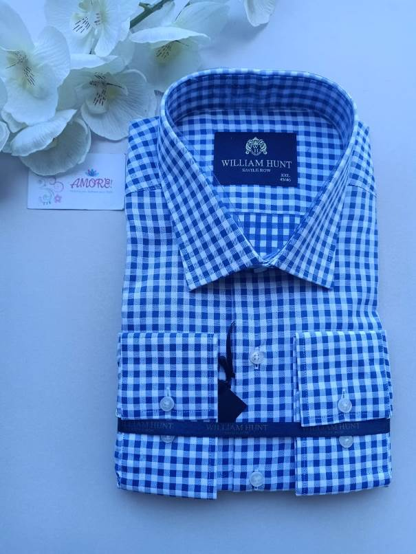 Checked royal blue and white shirt