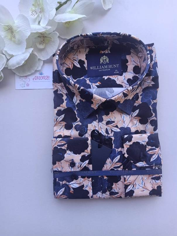 Floral blue and peach shirt