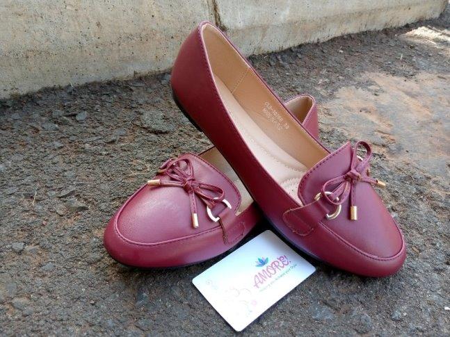 Maroon ribbon doll shoe
