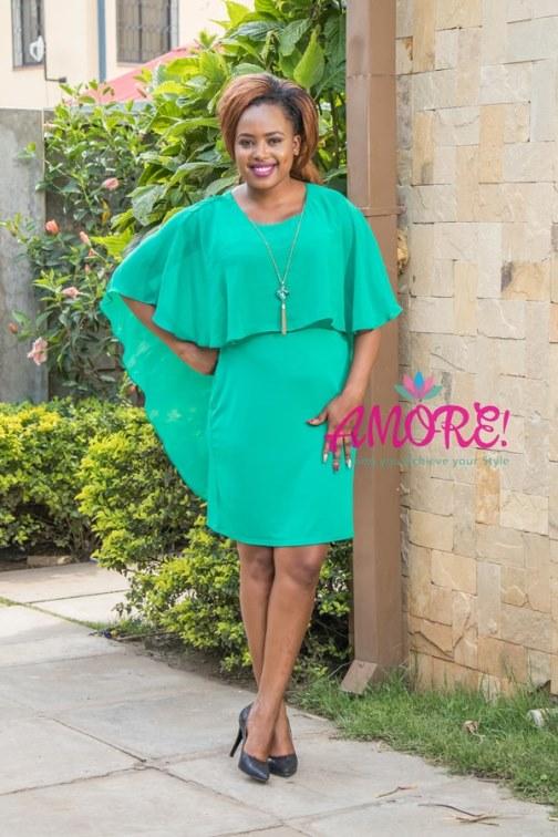 Mint green chiffon overflap dress