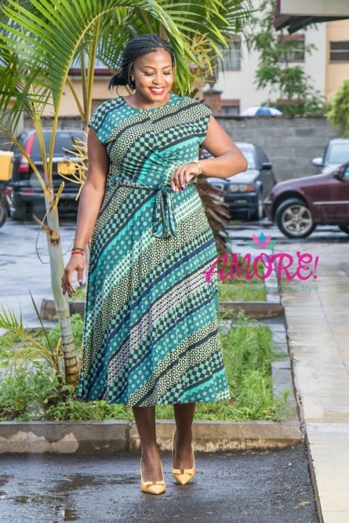 Tribal green pleats dress