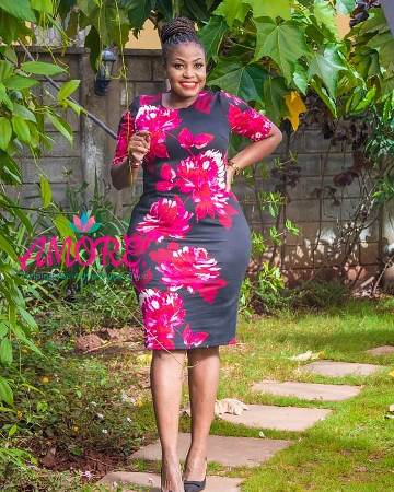 Black and pink floral bodycon