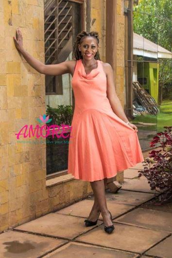 Coral linen dress