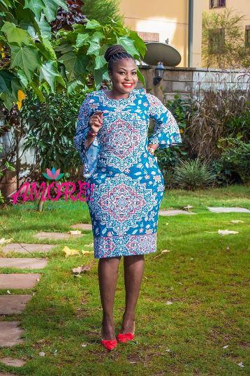 Turquiose blue printed shift dress
