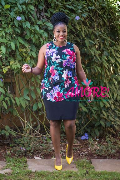 Black dress with upper floral chiffon