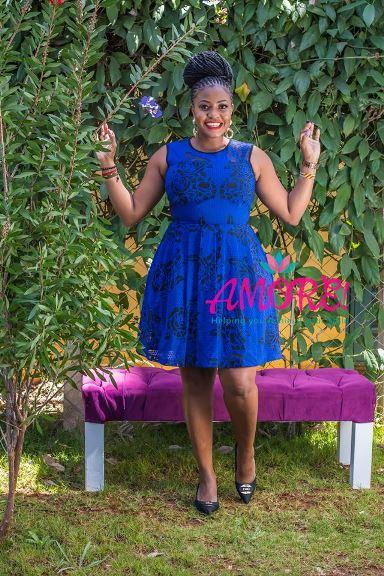 Blue black skater dress