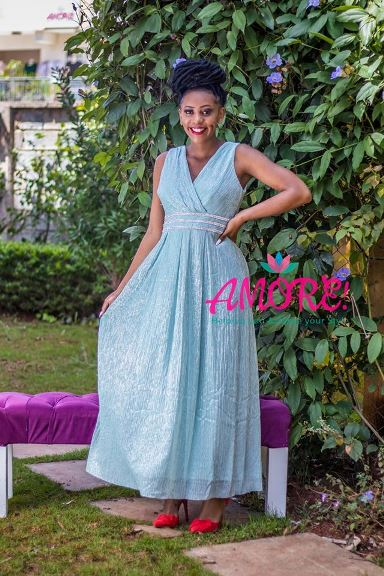 Bluish silver lace gown