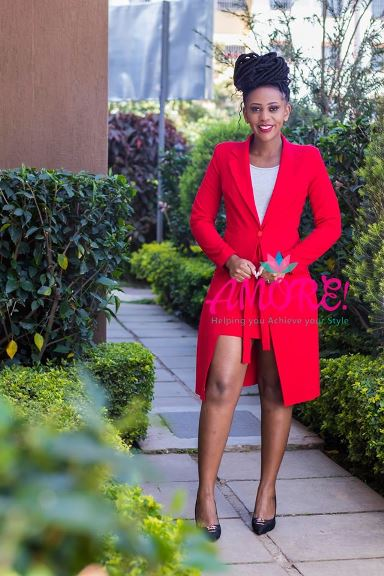 Red skirt suit
