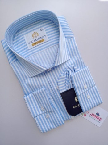 Baby blue and white stripped shirt