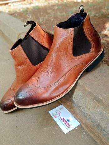 Brown chelsea wing tip boot