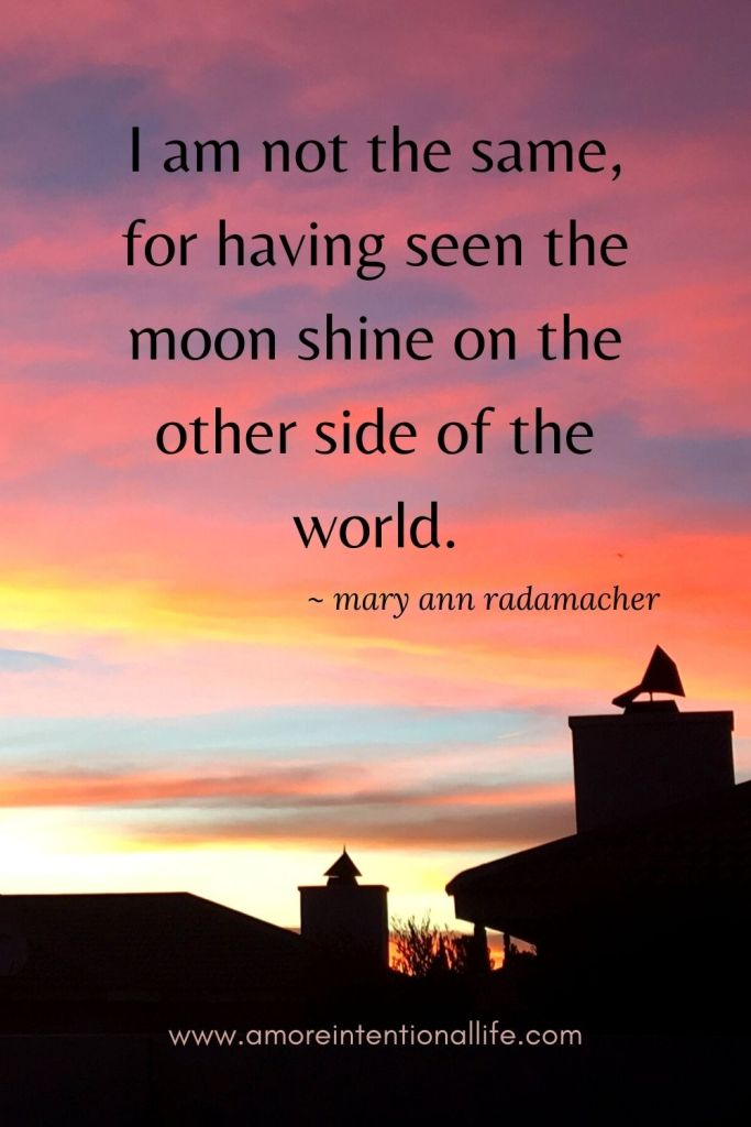 I am not the same for having seen the moon shine on the other side of the world