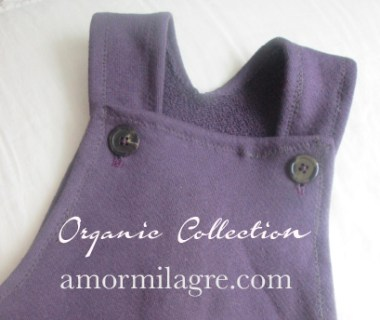 amormilagre.com Organic Baby Overalls: Deep Plum French Terry Cotton unisex