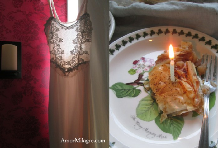 Birthday Wishes, Part 2, Apple Strudel by Amor Milagre Recipe and Photography by amormilagre.com Organic, Vegan Vegetarian, Plant-based, Healthy. Artwork, Stationery, Organic Apparel, and Custom Gifts. Baby and Me Meal Snack, Garden, birthday healthy alternative to sugar.  No-sugar birthday desserts.  Handmade Pink Lace Wedding Dress, Interior Design Atelier Studio Services Maine, USA.  Apple Picking Autumn New England, Phyllo, Filo Dough, Raspberry Red Wallpaper, Romance, Romantic Master Bedroom, Restoration Hardware Candle Sconce, Designer's Guild Sukumala Crimson Wallpaper