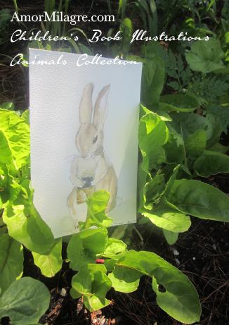 Amor Milagre Children's Book Illustrations Animals Bunny Rabbit with a Blueberry Basket amormilagre.com
