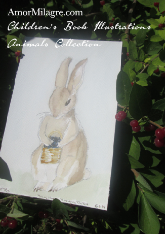 Amor Milagre Children's Book Illustrations Animals Bunny Rabbit with a Blueberry Basket amormilagre.com