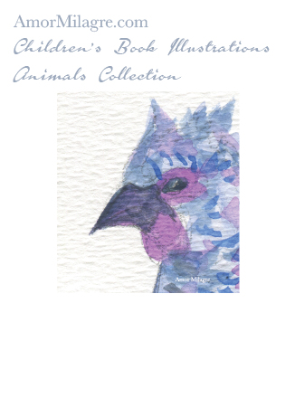 Amor Milagre Children's Book Animals Illustrations Blue Chicken Hen 2 beautiful for all spaces and ages, especially in a nursery amormilagre.com