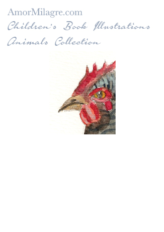 Amor Milagre Children's Book Animals Illustrations The Black Chicken Hen 1 beautiful for all spaces and ages, especially in a nursery amormilagre.com