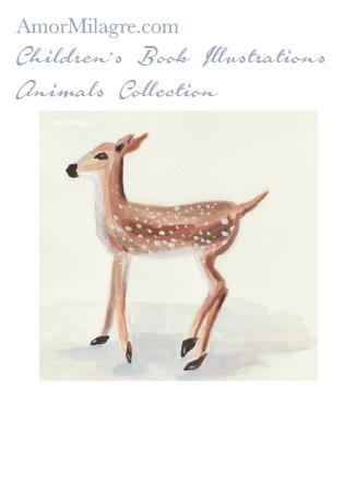 Amor Milagre Children's Book Animals Illustrations The Fawn Deer 1 nursery amormilagre.com