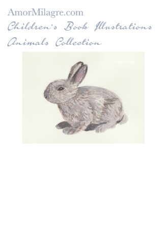 Amor Milagre Children's Book Animals Illustrations The Grey Bunny Rabbit Custom Pet Portrait beautiful for all spaces and ages, especially in a nursery amormilagre.com