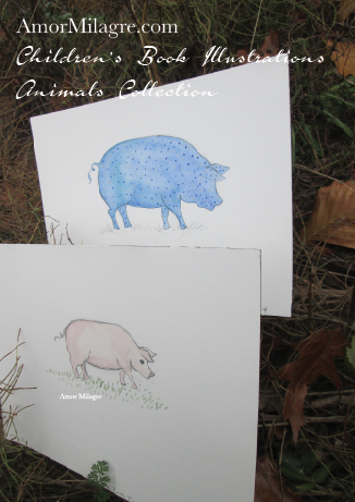 Amor Milagre Children's Book Animals Illustrations The Polka Dot Blue Pig and Pink Pig beautiful for all spaces and ages, especially in a nursery amormilagre.com