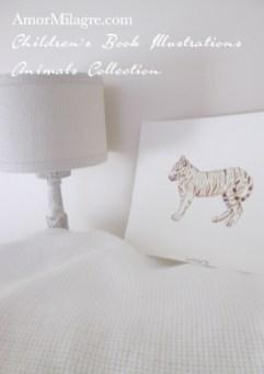 Amor Milagre Children's Book Illustrations Animals White Bengal Tiger amormilagre.com