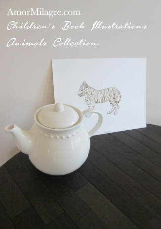 Amor Milagre Children's Book Illustrations Animals White Bengal Tiger teapot amormilagre.com
