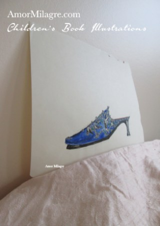 Amor Milagre Fashion & Shoe Design Children's Book Illustrations Shoe Design Book Lucca Beaded Embroidered Blue Shoe Design amormilagre.com