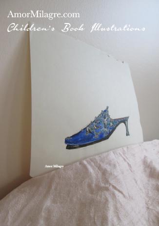Amor Milagre Fashion & Shoe Design Children's Book Illustrations Shoe Design Book Lucca Beaded Embroidered Blue Shoe Design amormilagre.com