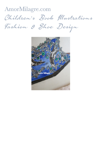 Amor Milagre Fashion & Shoe Design Detail 1 Children's Book Illustrations Shoe Design Book Lucca Beaded Embroidered Blue Shoe Design amormilagre.com
