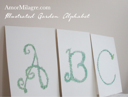 Amor Milagre Illustrated Garden Alphabet Letter ABC amormilagre.com