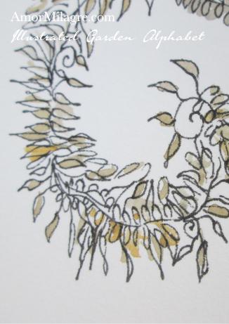 Amor Milagre Illustrated Garden Alphabet Letter L Golden Leaf 2 custom initials name word amormilagre.com