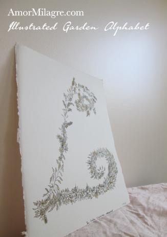 Amor Milagre Illustrated Garden Alphabet Letter L Golden Leaf custom initials name word amormilagre.com