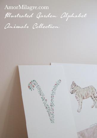 Amor Milagre Illustrated Garden Alphabet Letter V Tiger amormilagre.com