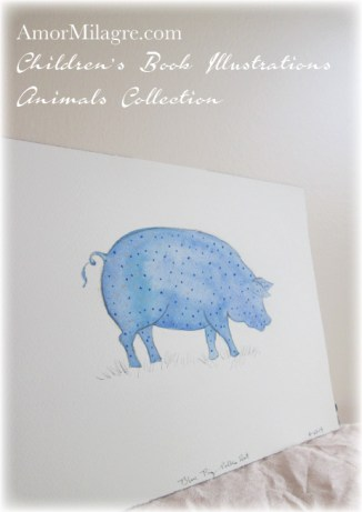 Amor Milagre Watercolor The Blue Polka Dot Pig The Shop at Dove Cottage Children's Book Illustrations beautiful for all spaces and ages, especially in a nursery amormilagre.com