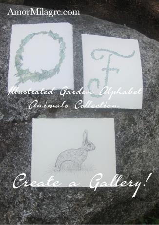 Illustrated Garden Alphabet Letter O F Bunny in the Grass Amor Milagre amormilagre.com