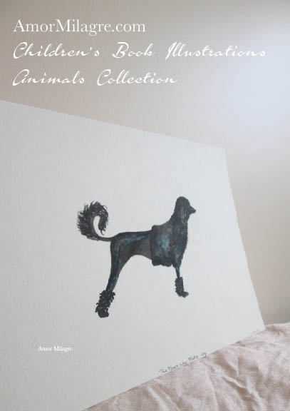 Amor Milagre Children's Book Animals Illustrations Black Poodle 2 beautiful for all spaces and ages, especially in a nursery amormilagre.com