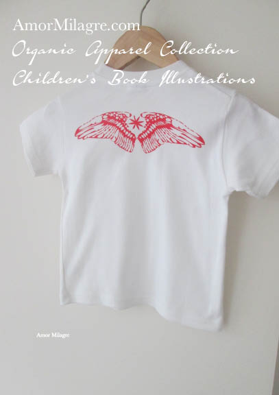 Amor Milagre Red Bird Wings 1 Organic Cotton Toddler Graphic Tee Shirt Collection Children's Book Unisex amormilagre.com baby wear your wings on your back to help you fly to reach your dreams!