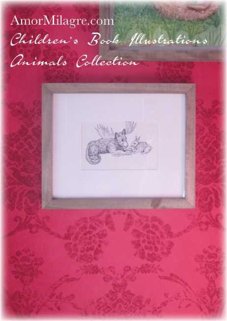 Amor Milagre Book: Pabeuse and Funny Bunny Animals The Shop at Dove Cottage Children's Book Illustrations beautiful for all spaces and ages, especially in a nursery amormilagre.com Ink pen illustration art prints