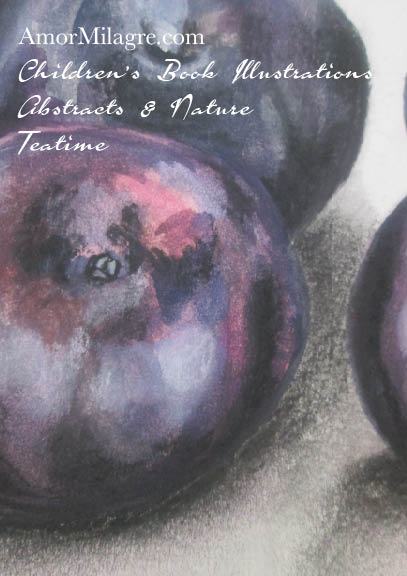 Amor Milagre Four Shining Plums Purple Red Fruit Watercolor Abstract The Shop at Dove Cottage Children's Book Illustrations beautiful for all spaces ages, kitchen nursery amormilagre.com