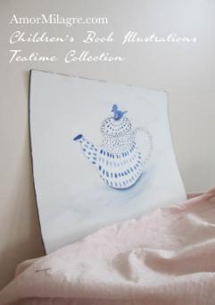 Amor Milagre Blue Dotted Blue Bird Teapot Teatime Abstract Watercolor The Shop at Dove Cottage Children's Book Illustrations beautiful for all spaces and ages, especially in a nursery amormilagre.com