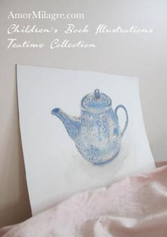 Amor Milagre Blue Spotted Teapot Teatime Abstract Watercolor The Shop at Dove Cottage Children's Book Illustrations beautiful for all spaces and ages, especially in a nursery amormilagre.com